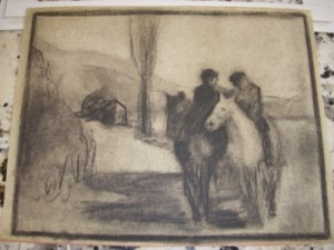 drawing - horses
